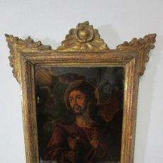 Arte: PINTURA AL ÓLEO SOBRE CRISTAL - SAN JUAN EVANGELISTA - ESCUELA ESPAÑOLA - MARCO DE ÉPOCA - S. XVIII. Lote 217198226