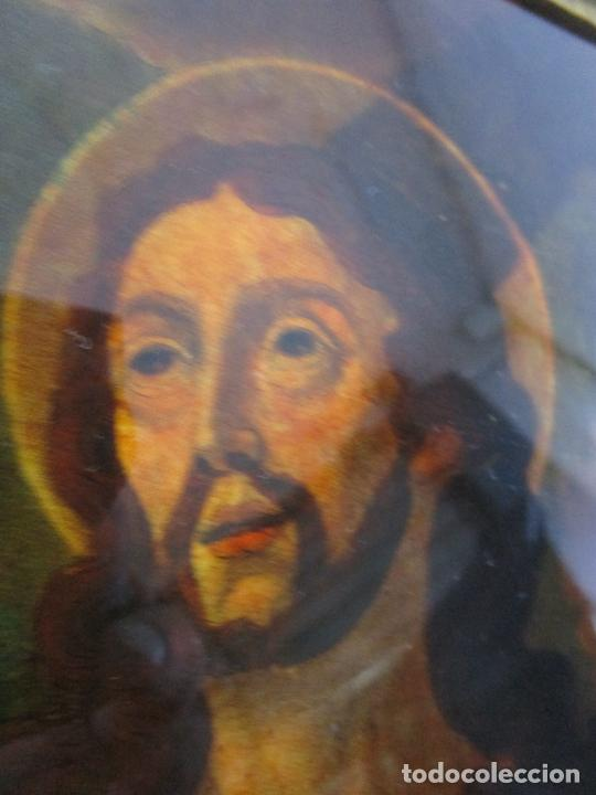 Arte: Pintura al Óleo sobre Cristal - San Juan Evangelista - Escuela Española - Marco de Época - S. XVIII - Foto 11 - 217198226