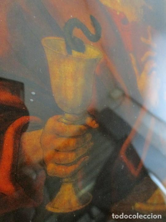 Arte: Pintura al Óleo sobre Cristal - San Juan Evangelista - Escuela Española - Marco de Época - S. XVIII - Foto 12 - 217198226