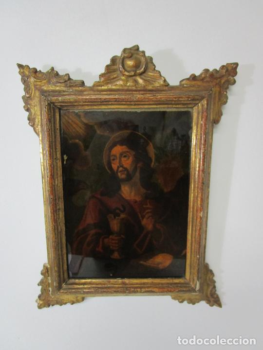 Arte: Pintura al Óleo sobre Cristal - San Juan Evangelista - Escuela Española - Marco de Época - S. XVIII - Foto 15 - 217198226