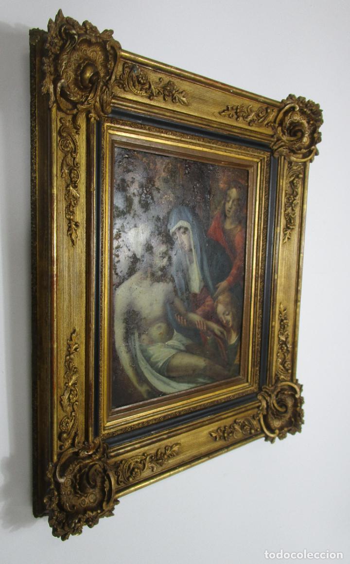 Arte: Pintura Religiosa - Óleo sobre Cobre - Descendimiento de Cristo - Escuela Española - S. XVII-XVIII - Foto 2 - 217239291