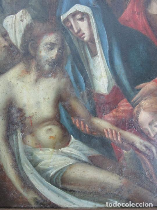 Arte: Pintura Religiosa - Óleo sobre Cobre - Descendimiento de Cristo - Escuela Española - S. XVII-XVIII - Foto 4 - 217239291