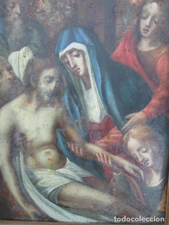 Arte: Pintura Religiosa - Óleo sobre Cobre - Descendimiento de Cristo - Escuela Española - S. XVII-XVIII - Foto 7 - 217239291