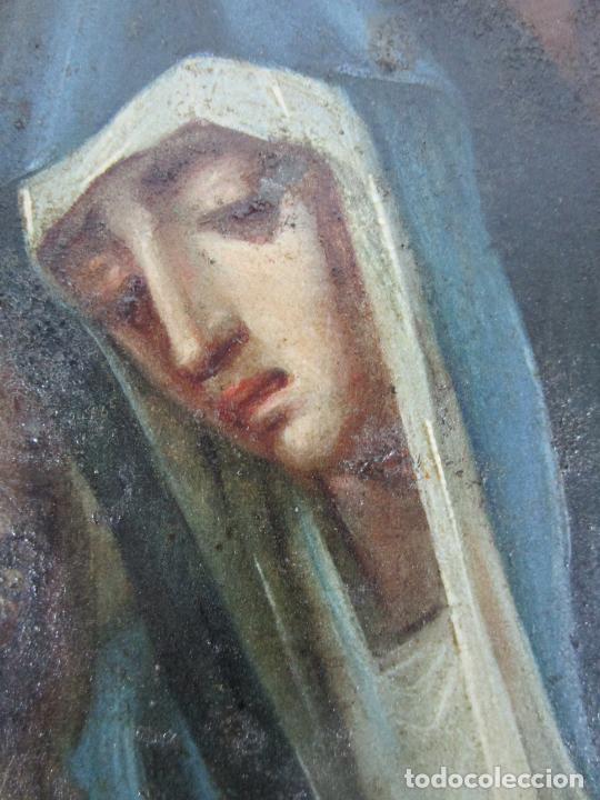 Arte: Pintura Religiosa - Óleo sobre Cobre - Descendimiento de Cristo - Escuela Española - S. XVII-XVIII - Foto 8 - 217239291