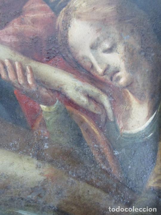 Arte: Pintura Religiosa - Óleo sobre Cobre - Descendimiento de Cristo - Escuela Española - S. XVII-XVIII - Foto 9 - 217239291