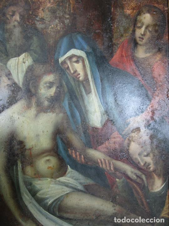 Arte: Pintura Religiosa - Óleo sobre Cobre - Descendimiento de Cristo - Escuela Española - S. XVII-XVIII - Foto 14 - 217239291