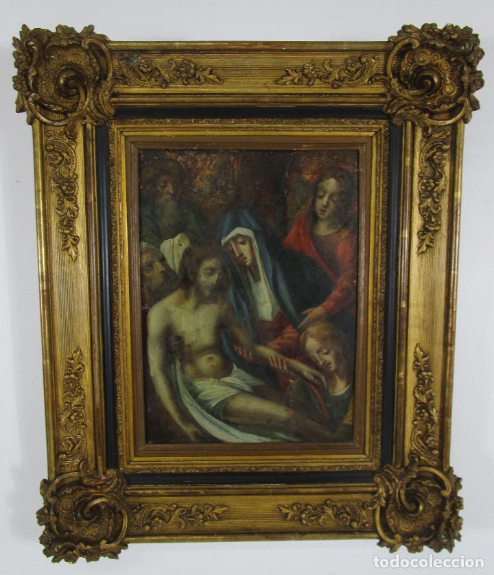 Arte: Pintura Religiosa - Óleo sobre Cobre - Descendimiento de Cristo - Escuela Española - S. XVII-XVIII - Foto 15 - 217239291