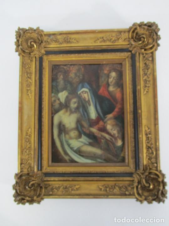 Arte: Pintura Religiosa - Óleo sobre Cobre - Descendimiento de Cristo - Escuela Española - S. XVII-XVIII - Foto 18 - 217239291