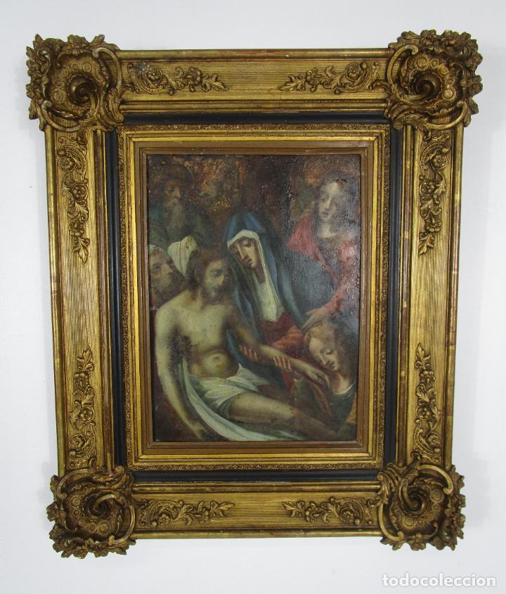PINTURA RELIGIOSA - ÓLEO SOBRE COBRE - DESCENDIMIENTO DE CRISTO - ESCUELA ESPAÑOLA - S. XVII-XVIII (Arte - Arte Religioso - Pintura Religiosa - Oleo)