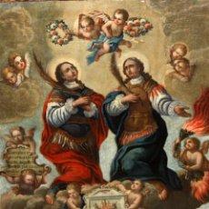 Arte: IMPORTANTE OBRA DEL TALLER DEL VIGATÀ. OLEO TELA SIGLO XVIII. LOS MARTIRES DE VIC LUCIANO Y MARCIANO. Lote 217344917