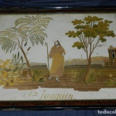 Arte: (M) SEDA RELIGIOSA BORDADA ANTIGUA SAN JOAQUIN S.XIX, ENMARCADA, 45X34,5CM, SEÑALES DE USO NORMALES. Lote 217351277