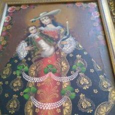 Arte: OLEO SOBRE LIENZO VIRGEN CUZQUEÑA CON NIÑO. ENMARCADO MEDIDA TOTAL 57X43 CM.. Lote 27180904