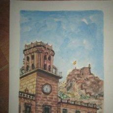 Arte: CUADRO ACUARELA ORIGINAL AYUNTAMIENTO DE ALICANTE CASTILLO Y CARA MORO FIRMA IGLESIAS GARRIDO. Lote 136822290