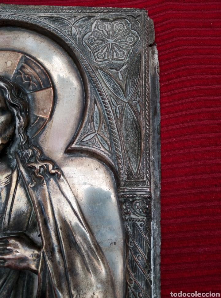 Arte: Muy antigua imagen del corazón de Jesús en metal. - Foto 2 - 217512620