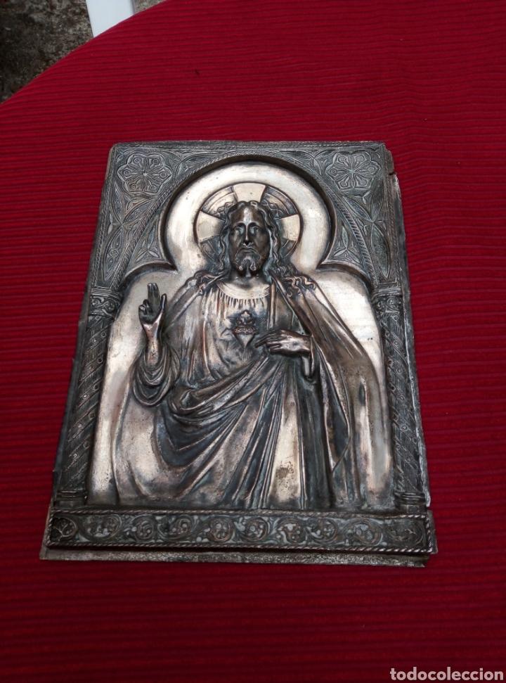 Arte: Muy antigua imagen del corazón de Jesús en metal. - Foto 3 - 217512620