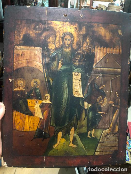 Arte: ESPECTACULAR OLEO SOBRE TABLA SIGLO XVIII - ESCENA RELIGIOSA - MEDIDA 37X30 CM - Foto 15 - 217555385