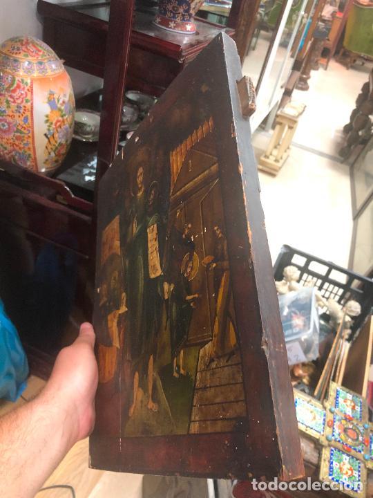 Arte: ESPECTACULAR OLEO SOBRE TABLA SIGLO XVIII - ESCENA RELIGIOSA - MEDIDA 37X30 CM - Foto 17 - 217555385