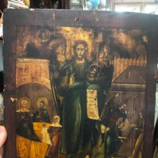 Arte: ESPECTACULAR OLEO SOBRE TABLA SIGLO XVIII - ESCENA RELIGIOSA - MEDIDA 37X30 CM. Lote 217555385