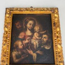 Arte: VIRGEN ENTREGA EL ROSARIO A SANTO DOMINGO DE GUZMÁN , ESC. SEVILLANA S. XVIII , ÓLEO LIENZO. Lote 217673890