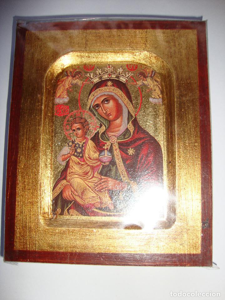 PRECIOSA COPIA DE ICONO BIZANTINO CON CERTIFICADO SOBRE MADERA. VER FOTOS (Arte - Arte Religioso - Iconos)