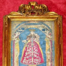 Arte: VIRGEN PEREGRINA DE SAHAGÚN. COMPOSICIÓN CON GRABADO Y SEDA. MARCO ORIGINAL. ESPAÑA. SIGLO XVIII. Lote 217784312