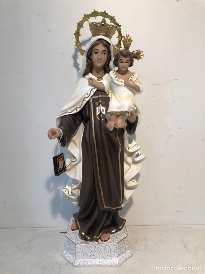 VIRGEN DEL CARMEN DE ESTUCO ARTE MODELO OLOT. NUEVA. 36CM. (Arte - Arte Religioso - Escultura)