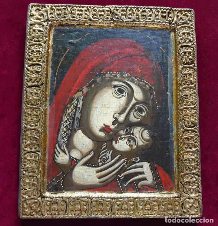 ICONO RUSO VIRGEN ELEUSA TABLA SIGLO XVIII (Arte - Arte Religioso - Iconos)