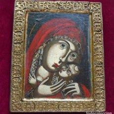Arte: ICONO RUSO VIRGEN ELEUSA TABLA SIGLO XVIII. Lote 217889543