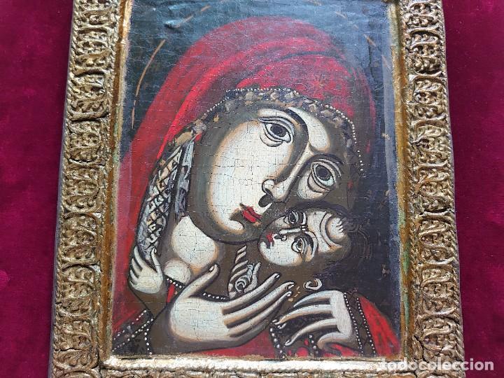 Arte: ICONO RUSO VIRGEN ELEUSA TABLA SIGLO XVIII - Foto 2 - 217889543
