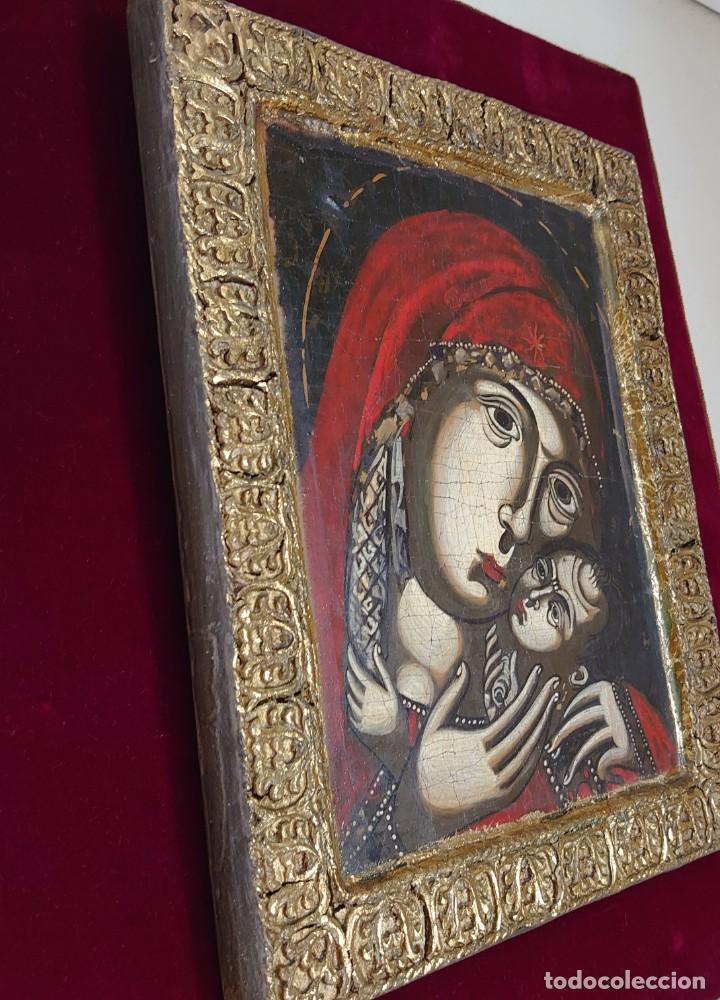 Arte: ICONO RUSO VIRGEN ELEUSA TABLA SIGLO XVIII - Foto 3 - 217889543