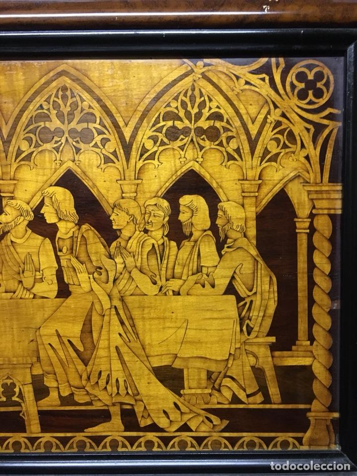 Arte: (M/T) IMAGEN SANTA CENA DE MADERA AÑOS 50 CON MARCO DE LA ÉPOCA - Foto 7 - 217899336