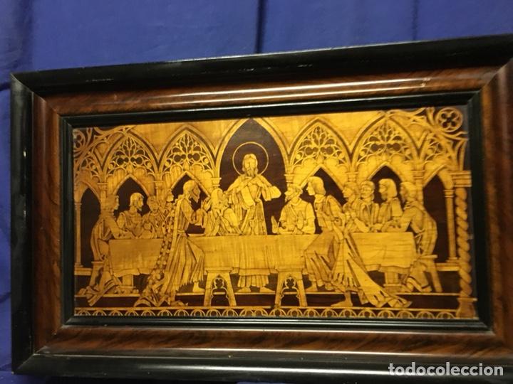 Arte: (M/T) IMAGEN SANTA CENA DE MADERA AÑOS 50 CON MARCO DE LA ÉPOCA - Foto 8 - 217899336