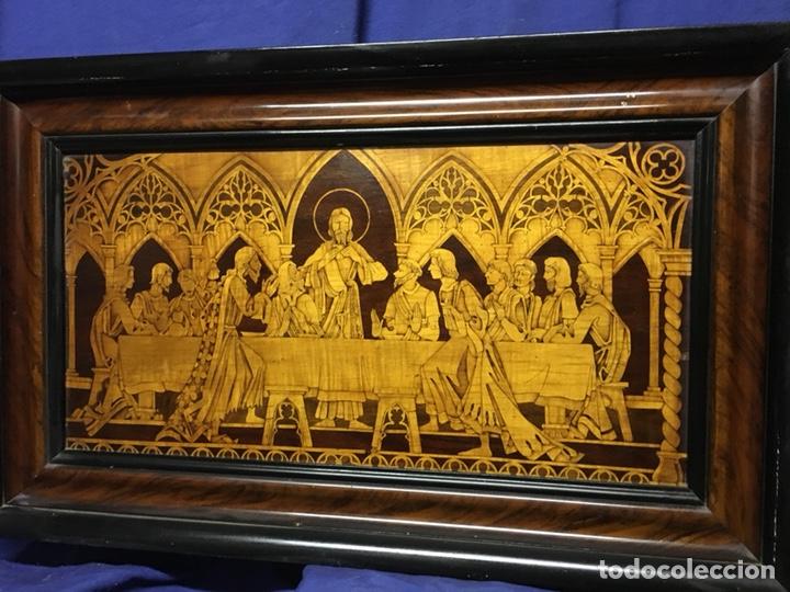 (M/T) IMAGEN SANTA CENA DE MADERA AÑOS 50 CON MARCO DE LA ÉPOCA (Arte - Arte Religioso - Retablos)