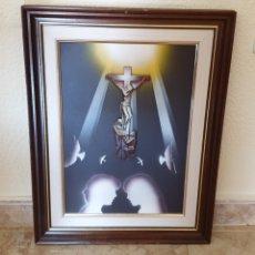 Arte: CUADRO RELIGIOSO CRISTO CRUCIFICADO EN RELIEVE MUY BONITO VINTAGE AÑOS 80S. Lote 217907713