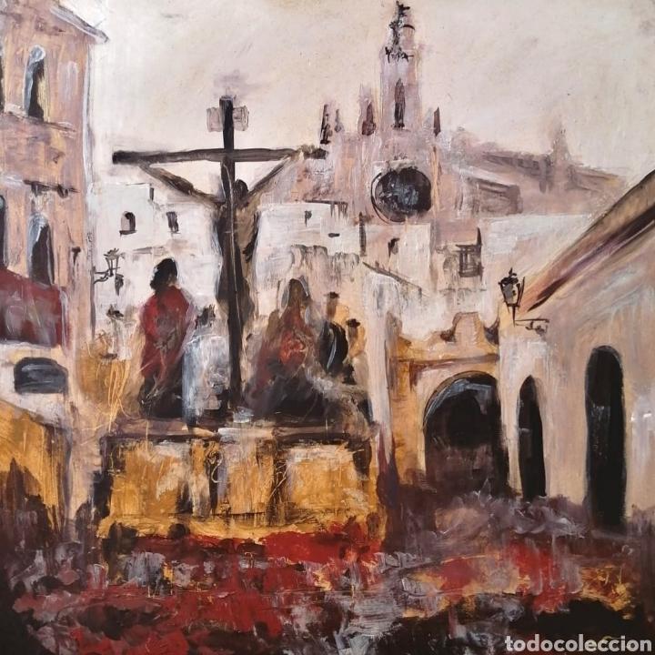 CUADRO IMPRESIONISTA SEMANA SANTA DE SEVILLA (Arte - Arte Religioso - Pintura Religiosa - Oleo)