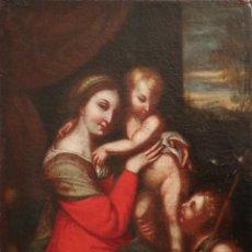 Arte: LA VIRGEN CON EL NIÑO Y SAN JUANITO. ÓLEO SOBRE LIENZO. MED: 63 X 51 CM. S. XVII.. Lote 218052012