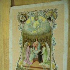Arte: RECUERDO DE PRIMERA COMUNION - LAMINA ILUSTRADA POR A. FEMENIA , AÑO 1911. Lote 218186705