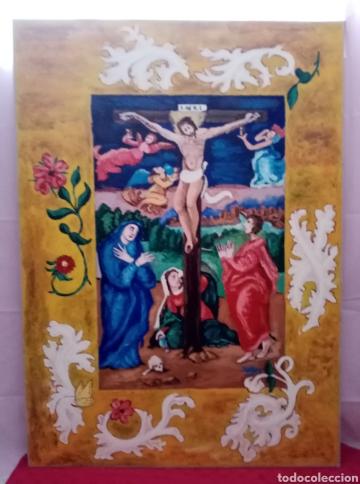 Arte: Hermosa pintura religiosa de gran dimensión con colores encendidos. Óleo sobre cartón. 105cm x 75cm - Foto 3 - 218218887