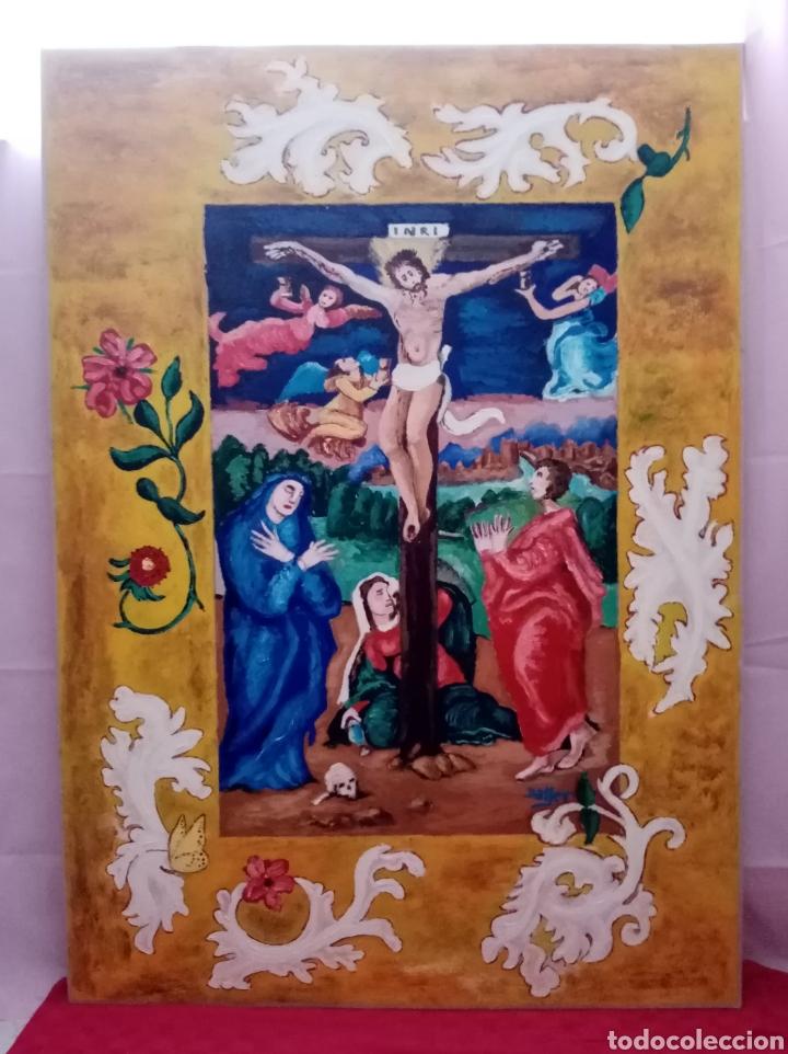 HERMOSA PINTURA RELIGIOSA DE GRAN DIMENSIÓN CON COLORES ENCENDIDOS. ÓLEO SOBRE CARTÓN. 105CM X 75CM (Arte - Arte Religioso - Pintura Religiosa - Oleo)