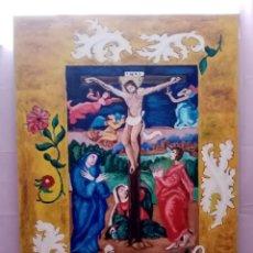 Arte: HERMOSA PINTURA RELIGIOSA DE GRAN DIMENSIÓN CON COLORES ENCENDIDOS. ÓLEO SOBRE CARTÓN. 105CM X 75CM. Lote 218218887