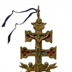 Arte: CRUZ DE CARAVACA, SIGLO XVIII, DOS CARAS, BRONCE DORADO, 15 X 6. Lote 218287070