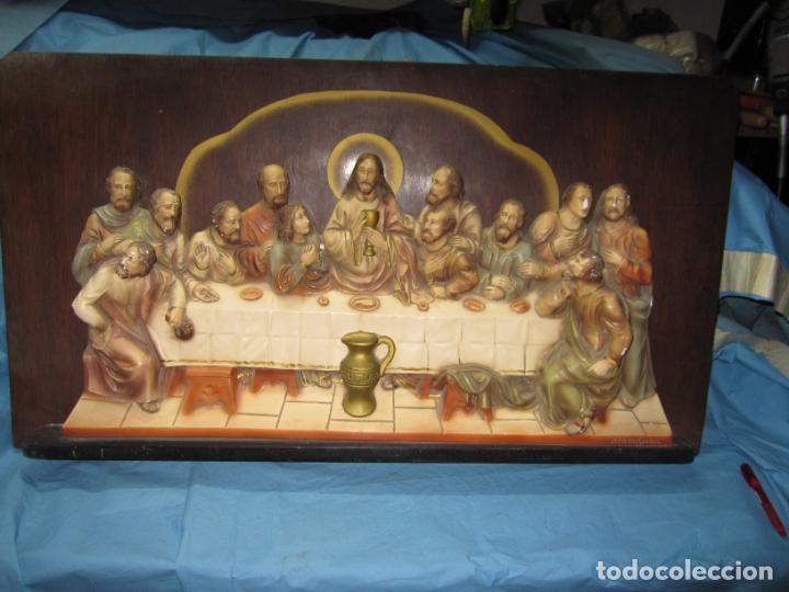 RETABLO O RELIEVE DE LA ULTIMA CENA EN ESTUCO POLICROMADO SOBRE TABLA DE MADERA VILAMITJANA (Arte - Arte Religioso - Retablos)