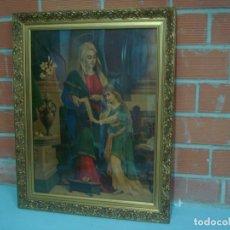 Arte: SANTA ANA PRECIOSA LITOGRAFIA A COLOR CON MARCO DORADO Y CRISTAL. Lote 218433872