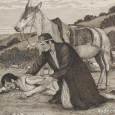 Arte: DIBUJO ORIGINAL: PARÁBOLA DEL BUEN SAMARITANO POR DAVID HARKNESS ( ACTIVO 1950'S ). Lote 218487827