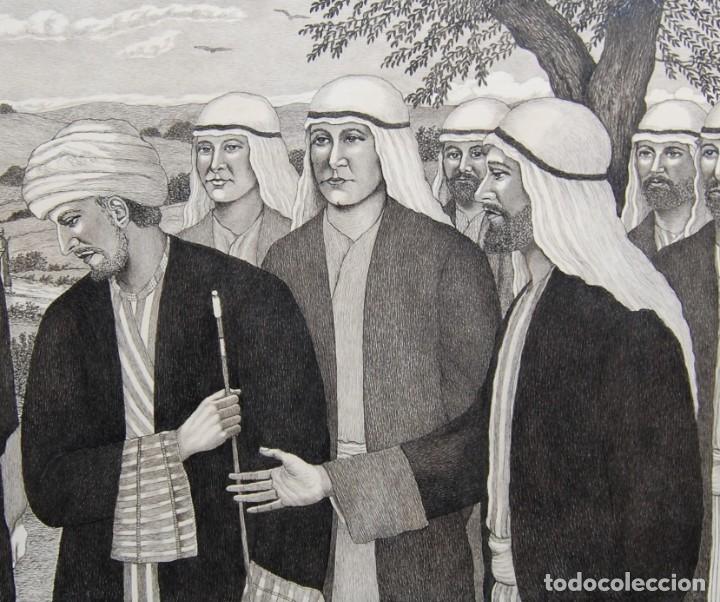 DIBUJO ORIGINAL: JESÚS Y EL HOMBRE RICO POR DAVID HARKNESS ( ACTIVO 1950'S ) (Arte - Arte Religioso - Pintura Religiosa - Otros)