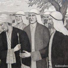 Arte: DIBUJO ORIGINAL: JESÚS Y EL HOMBRE RICO POR DAVID HARKNESS ( ACTIVO 1950'S ). Lote 218520140