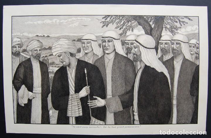 Arte: DIBUJO ORIGINAL: JESÚS Y EL HOMBRE RICO por David Harkness ( activo 1950s ) - Foto 2 - 218520140