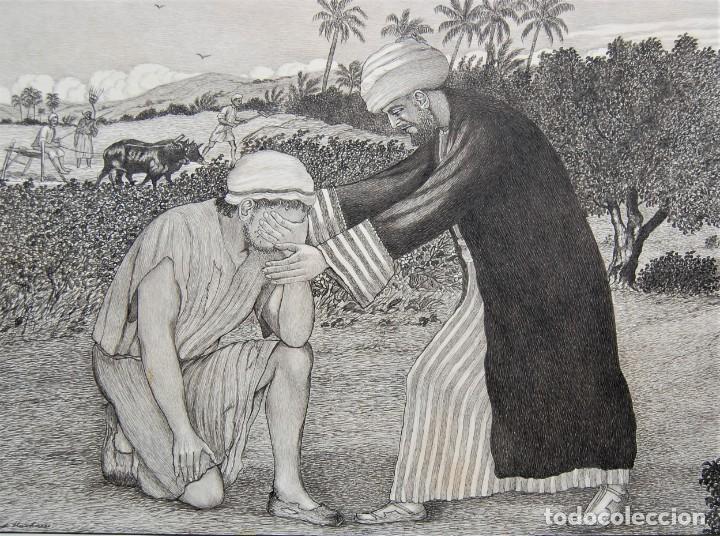 DIBUJO ORIGINAL: PARÁBOLA DEL HIJO PRÓDIGO POR DAVID HARKNESS ( ACTIVO 1950'S ) (Arte - Arte Religioso - Pintura Religiosa - Otros)