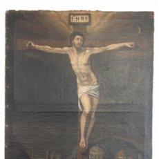 Arte: PINTURA RELIGIOSA ANTIGUA - ANTIGUO ÓLEO SOBRE LIENZO - CRISTO EN LA CRUZ - SIGLO XVII. Lote 218564928