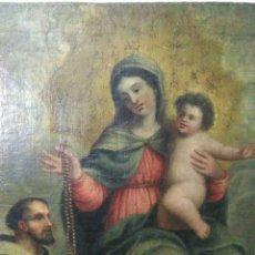 Arte: ANTIGUA PINTURA RELIGIOSA OLEO SIGLO XVIII ,VIRGEN DEL ROSARIO. Lote 218617182